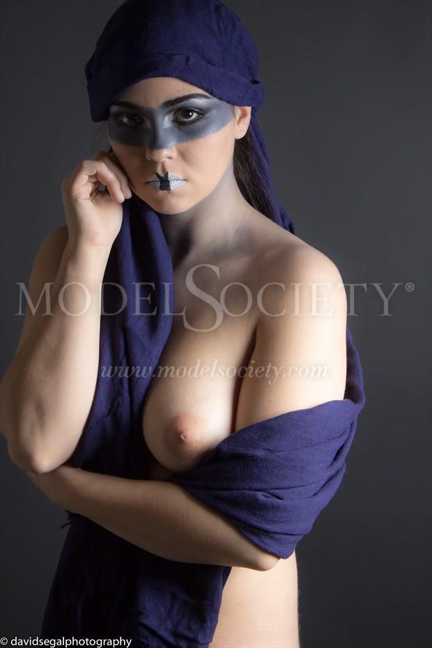 Navy Blue Headscarf Artistic Nude Photo by Model Charlotte Dell'Acqua