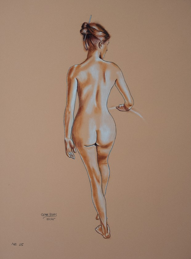 Nude Holding the Rail Artistic Nude Artwork by Artist Gene Rivas