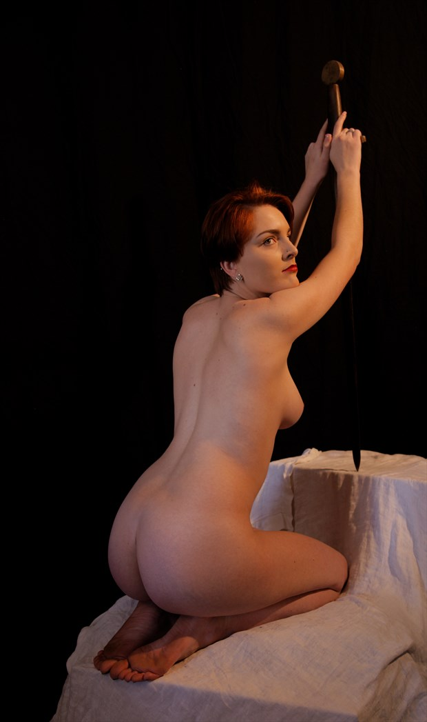 Nude Kneeling with Sword Artistic Nude Photo by Photographer Fred Scholpp Photo
