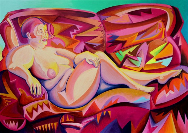 Nude On Couch Artistic Nude Artwork by Artist Andrew Chambers