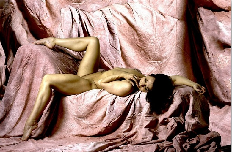 Nude on pink chaise  Artistic Nude Photo by Model T