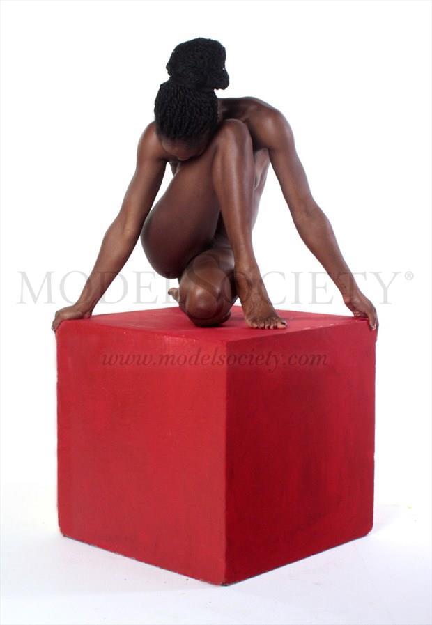 Nude on red box Studio Lighting Photo by Photographer Light is Art