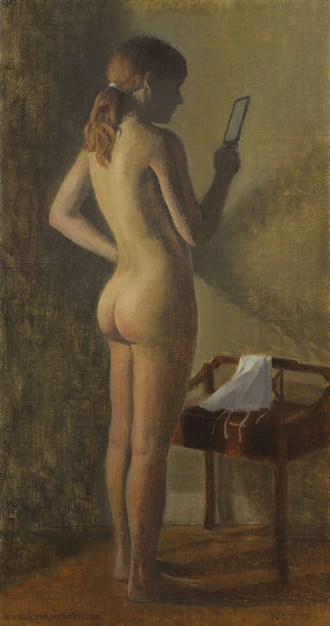 Nude with mirror Painting or Drawing Artwork by Artist Nicolas Granger Taylor