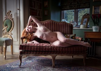 On the striped settee Artistic Nude Photo by Photographer Richard Spurdens