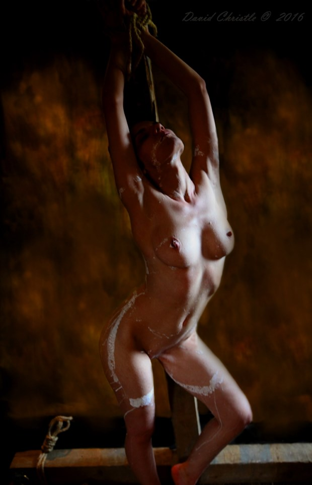 Painted white Artistic Nude Artwork by Model Diana Revo