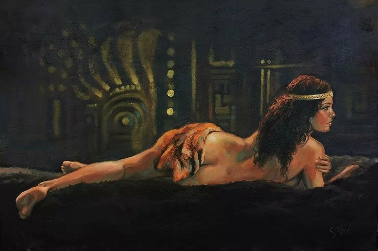 Painting by  Patrick Soper Fantasy Artwork by Model Angela Ren%C3%A9 Roberts