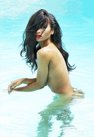 Peeking through hair, in pool Artistic Nude Photo by Photographer Larry