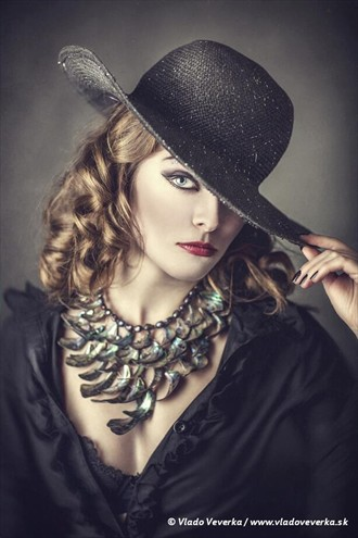 Playing with hat Glamour Artwork by Artist Vera Croft