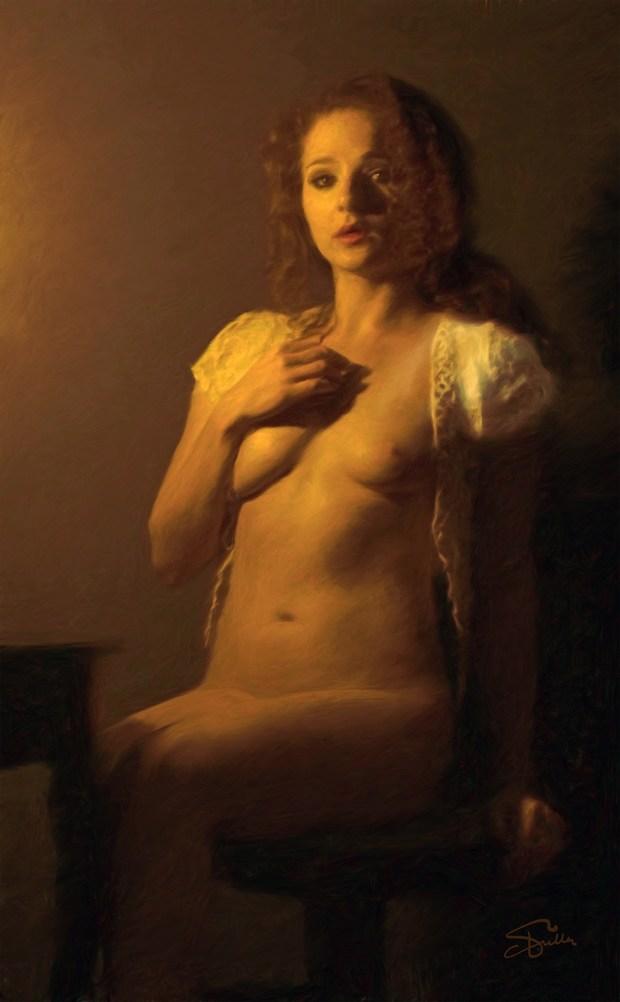 Portrait In Gold Artistic Nude Artwork by Artist Van Evan Fuller