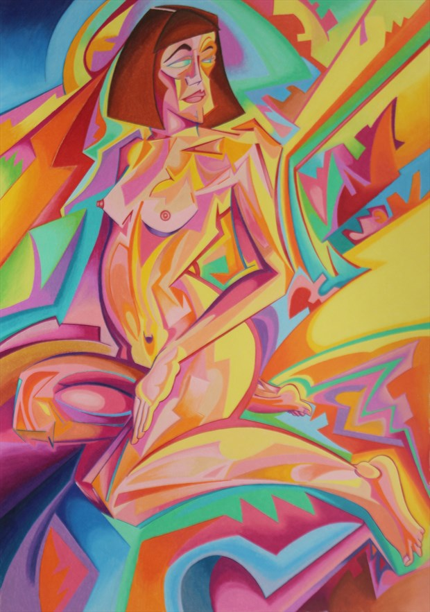 Pseudo Futurist Nude 4 Artistic Nude Artwork by Artist Andrew Chambers