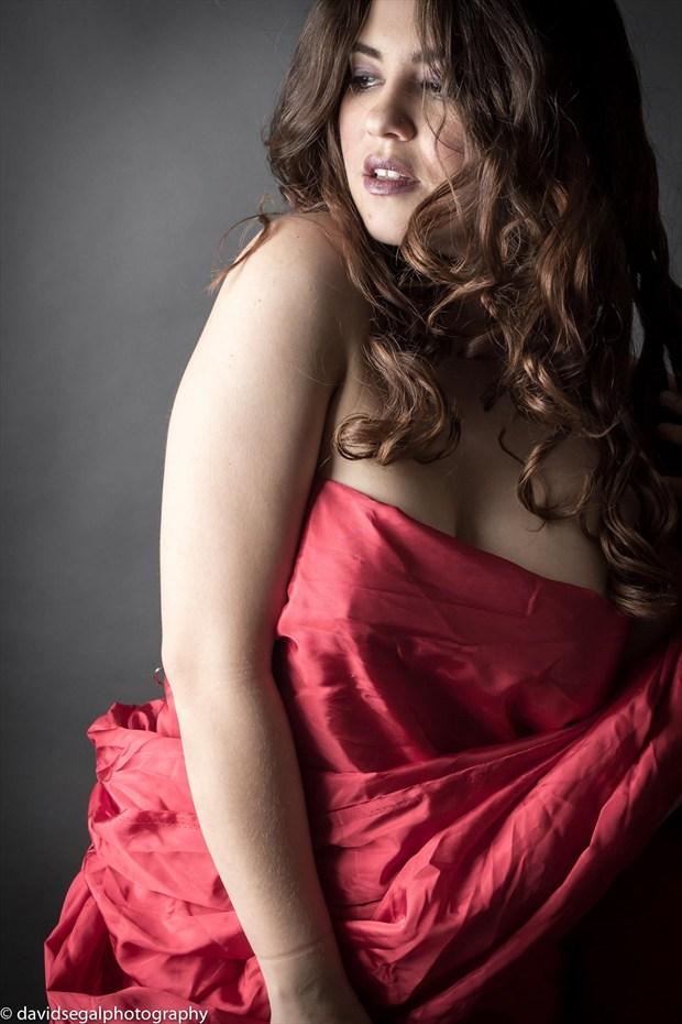 RED WRAP Sensual Photo by Model Charlotte Dell'Acqua
