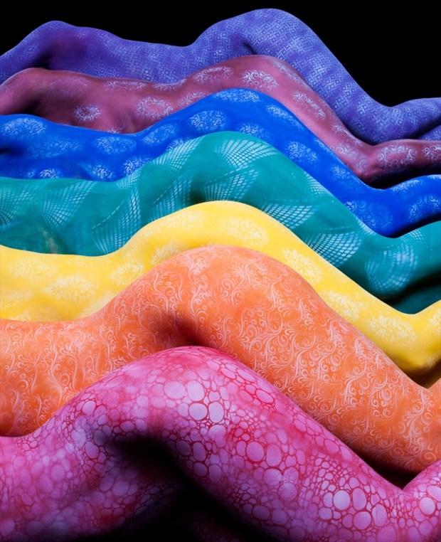 Rainbow Multiscape Artistic Nude Artwork by Model Syren Lestat