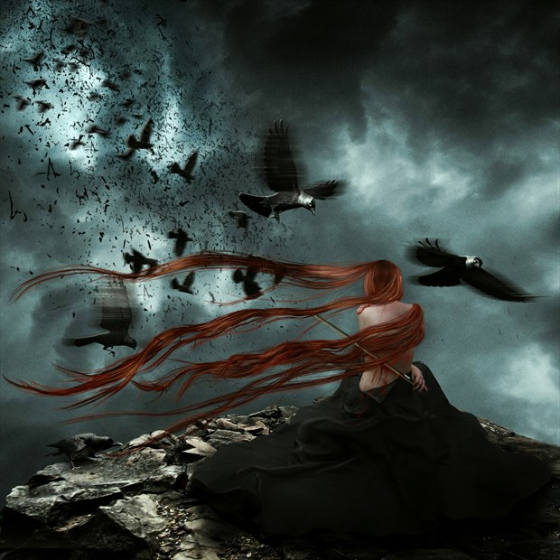 Ravens Violin Serenade Fantasy Artwork by Artist KarinClaessonArt