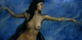 Reaching Through Blue Artistic Nude Artwork by Artist Matthew Joseph Peak
