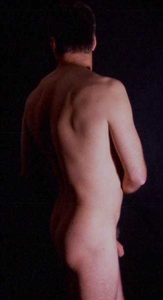 Rear Oblique Artistic Nude Artwork by Model Manofhands