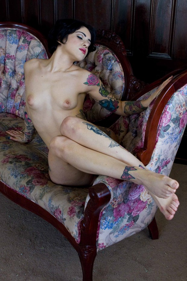 Reclined Nude on a Vintage Love Seat Artistic Nude Photo by Photographer NudesinNaturePhotography