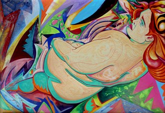 Reclining Zaftig 1 Artistic Nude Artwork by Artist Andrew Chambers