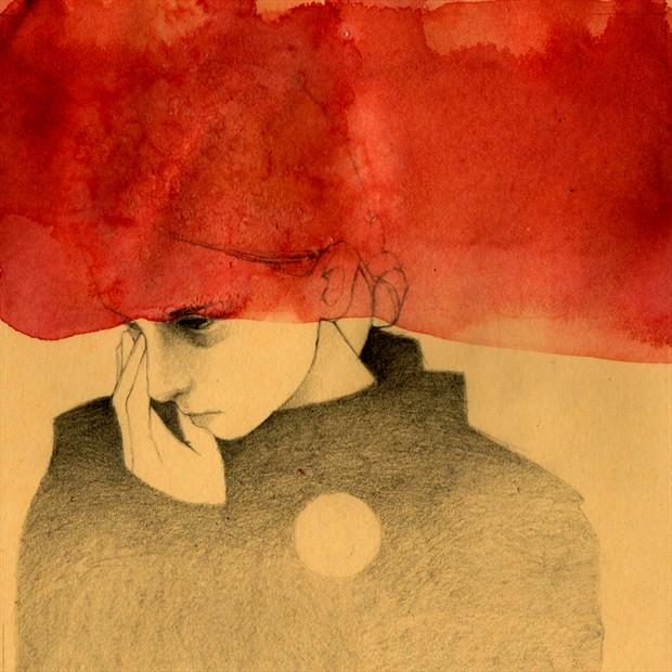 Red Expressive Portrait Artwork by Artist Elia Fern%C3%A1ndez