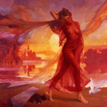 Red Lady Artistic Nude Artwork by Artist Matthew Joseph Peak