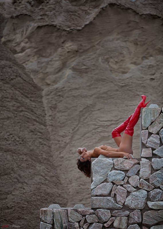 Red Stepper Artistic Nude Artwork by Photographer CM Photo