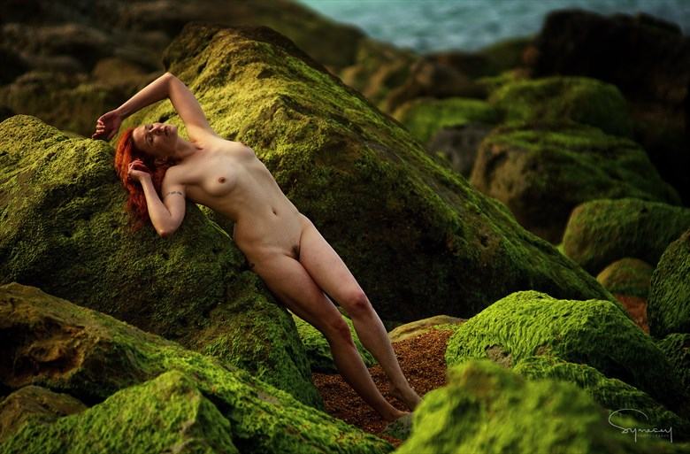 Red on Green in the early morning light Artistic Nude Photo by Photographer Symesey