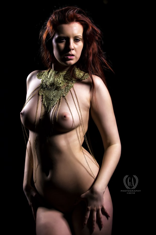 Redhead Goddess in Gold Chains Artistic Nude Photo by Photographer G A Photography
