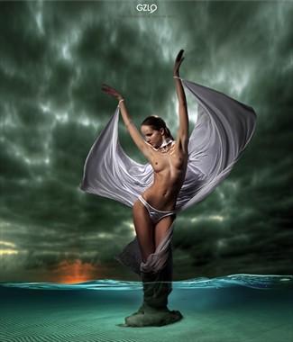 SWAN IN THE STORM Artistic Nude Artwork by Artist GonZaLo Villar