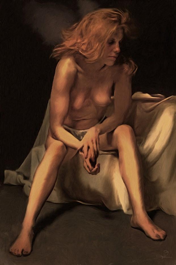 Sara Seated, with Folded Hands Artistic Nude Artwork by Artist Van Evan Fuller