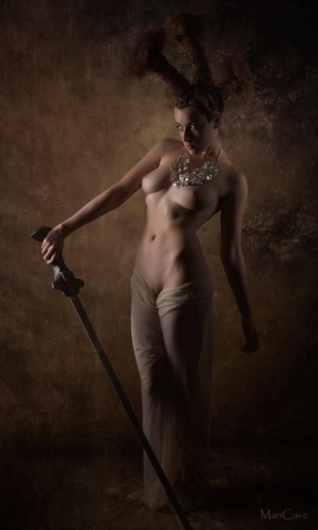 Sea Warrior Artistic Nude Artwork by Model Rosa Brighid