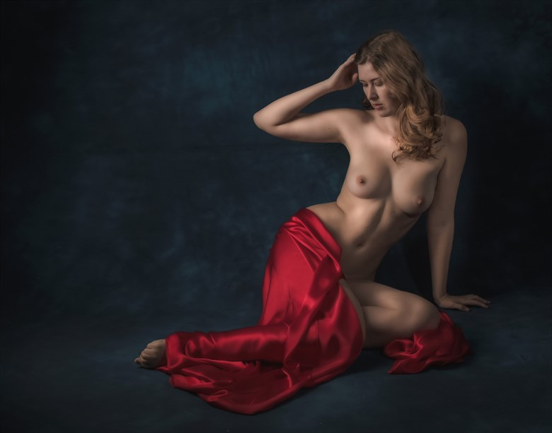 Sienna in Red Artistic Nude Photo by Photographer Paul Anders