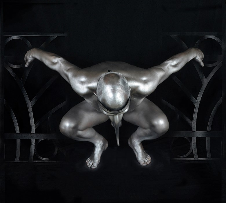 Silver Deco Artistic Nude Photo by Artist MarinaX