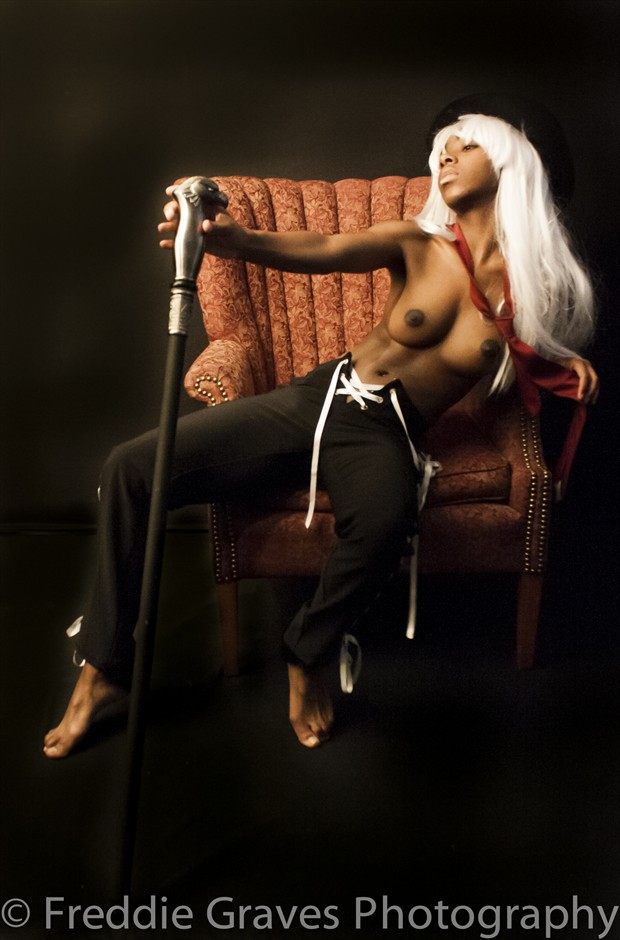Simone and the Cane Artistic Nude Photo by Artist Freddie Graves