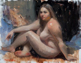 Sitting Model, A study Artistic Nude Artwork by Artist bcliston