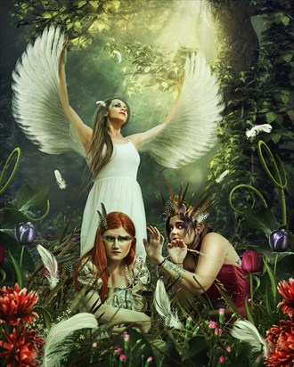 Sparrow, Swan and Robin  Fantasy Photo by Model Serena Anne