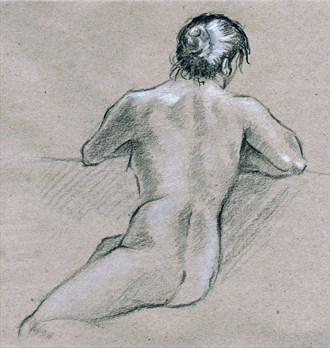 Study of a back Artistic Nude Artwork by Artist TEL