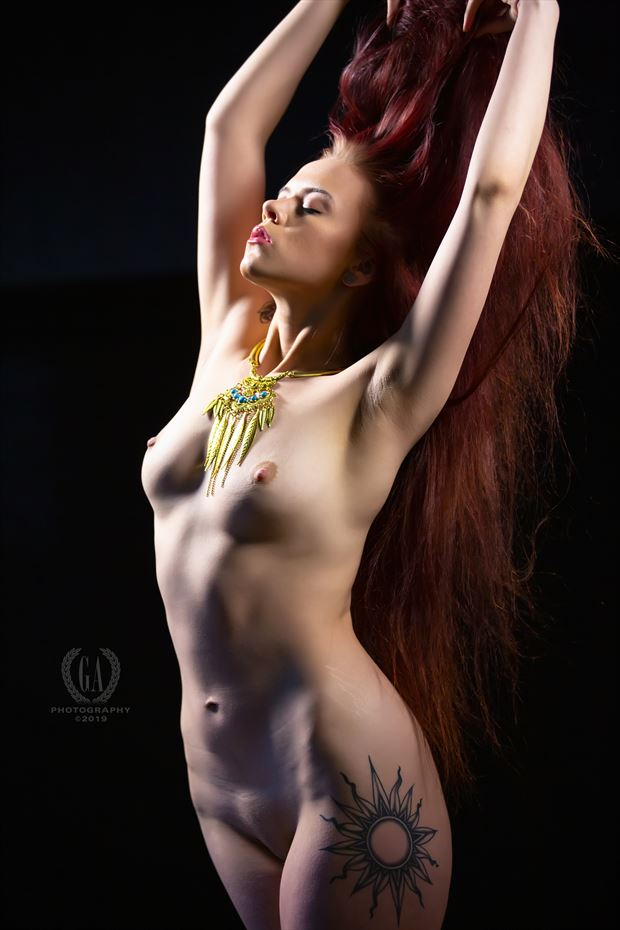 Sun Goddesses with Aurora Red Artistic Nude Photo by Photographer G A Photography