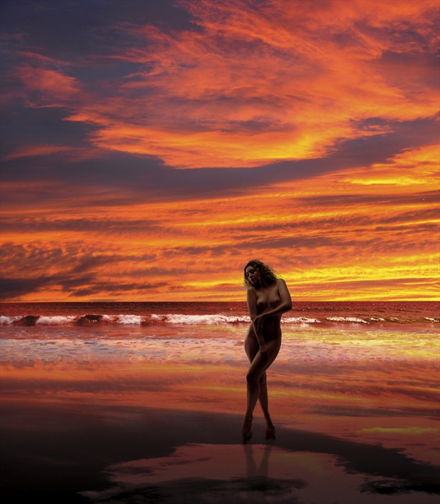 Sunset Beach Artistic Nude Photo by Photographer Ray Kirby