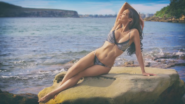 Tessa Lingerie on Rocks Retro look. Lingerie Photo by Photographer John Anthony