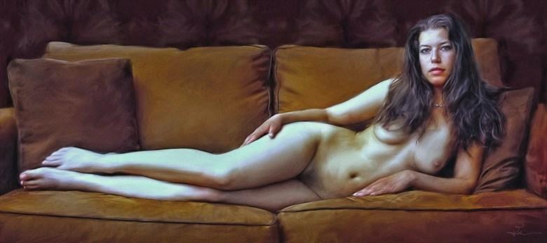 The Barroom Beauty Artistic Nude Artwork by Artist Van Evan Fuller