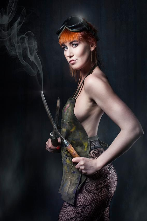 The Girl with the Scissors Pinup Artwork by Model Deeza Lind