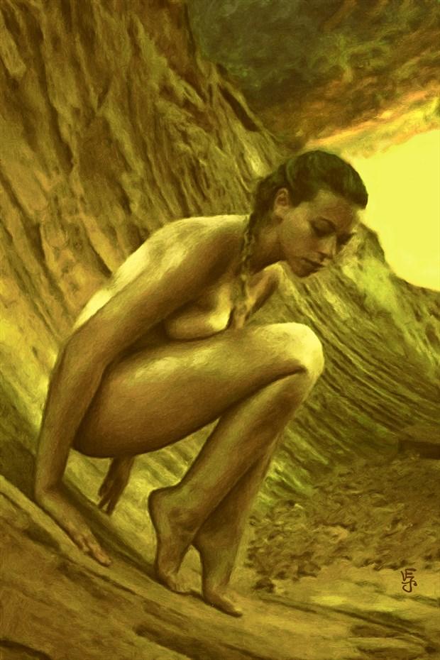 The Golden Wave Artistic Nude Artwork by Artist Van Evan Fuller