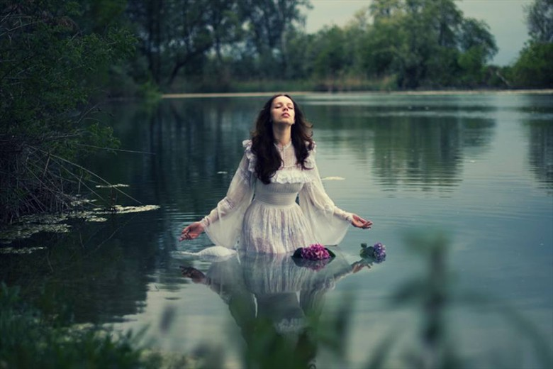 The Lady and the Lake Surreal Photo by Model Luna Nera