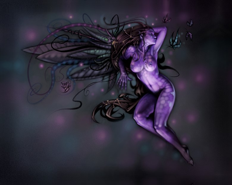 The Purple Fairy Fantasy Artwork by Artist David Bollt