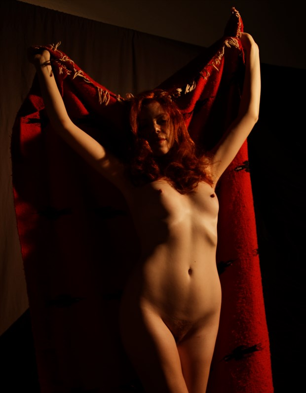 The Red Blanket Dance 1 Artistic Nude Photo by Photographer Fred Scholpp Photo