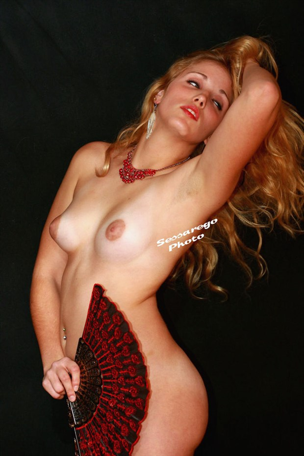 The Red Fan Artistic Nude Photo by Photographer Alan James