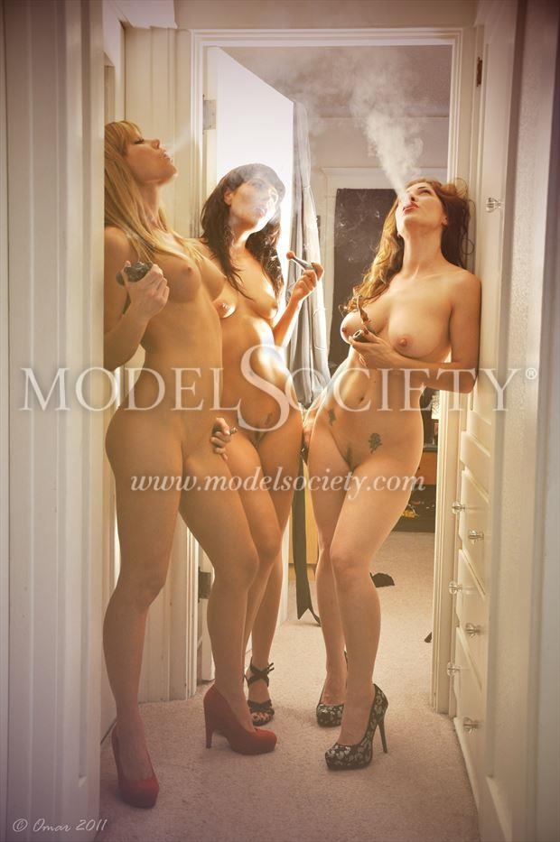 The three smoking graces, Kymberly Jane,  Sarah Jain, Daphney Rose. Artistic Nude Photo by Photographer Omar Photographico