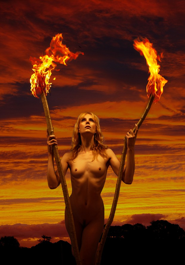 Torches Artistic Nude Photo by Photographer Ray Kirby