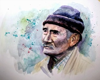 Turkish Man Portrait Artwork by Artist AnthonyNelsonArt