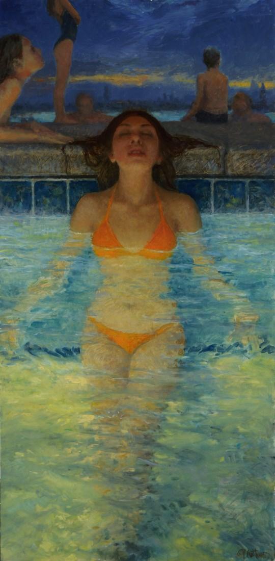 Twilight Hot Tub Glow Bikini Artwork by Artist Matthew Joseph Peak