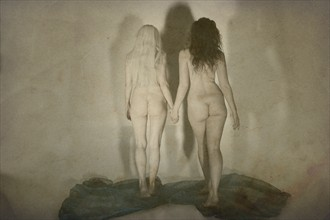 Two Walking into Shadows Artistic Nude Photo by Photographer Mark Bigelow